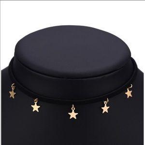 Jewelry - NEW! GOLDEN STARS BLACK CHOKER / ADJUSTABLE